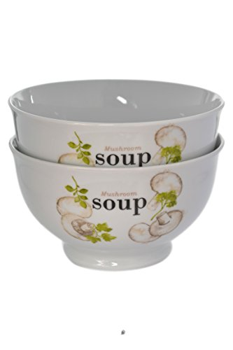 Set of 6 Large 24oz White Porcelain Mushroom Soup - Mushroom Porcelain