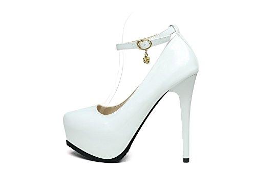 Aalardom Mujeres Pu Soft Material Solid Spikes-stilettos Pumps-Zapatos White-hebilla