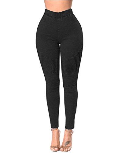 Jeans Femme Denim Pantalons Crayon tendue Slim Sexy Jeans Push Up Noir