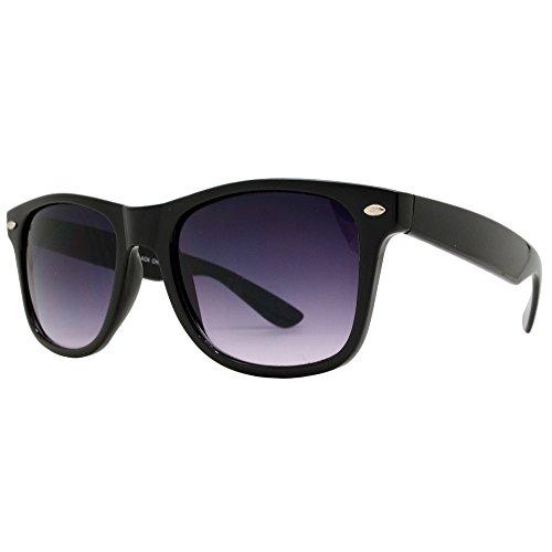 Wayfarer Sunglasses for Men Women tortoise Mirror Retro Vintage Black Lens Police Pilot Style New Black Shades (Wayfarer, - Police Shades