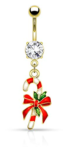 Christmas Belly Rings - Forbidden Body Jewelry 14g Surgical Steel Christmas Themed Belly Ring, Candy Cane (Gold)