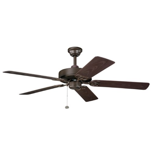 Kichler Lighting 339520TZP Sterling Manor Patio 52IN Energy Star Outdoor/Indoor Ceiling Fan, Tannery Bronze Powder Coat Finish with Brown ABS Blades