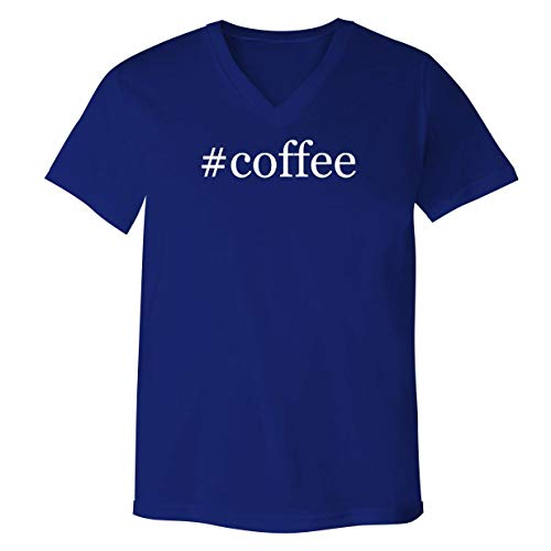 #Coffee - Adult Bella Canvas 3005 Unisex V-Neck T-Shirt, Blue, Small