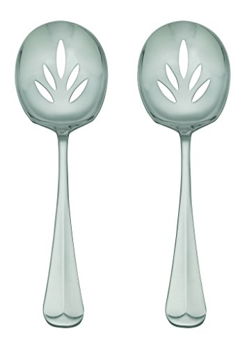 HIC Oxford Stainless Steel Slotted Serving Spoons Set, Set of 2, 9-Inch