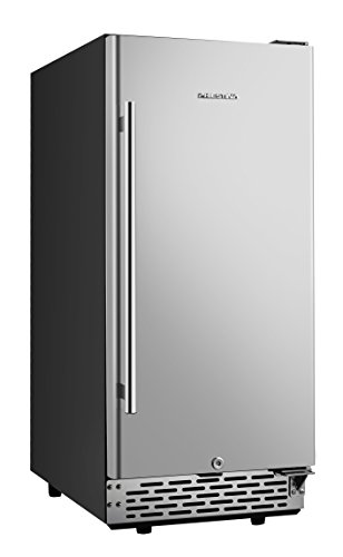 Phiestina 15 Inch Built-in Beer Froster Refrigerator - Stainless Steel Beverage Cooler Refrigerator for Soda Beer or Wine - Frost Free Small Beer Cooler for Home Bar or Office - Quiet Operation Fridge