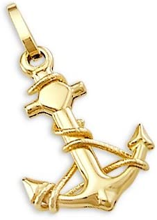 14k Solid Yellow Gold Anchor Charm Pendant Nautical Charm
