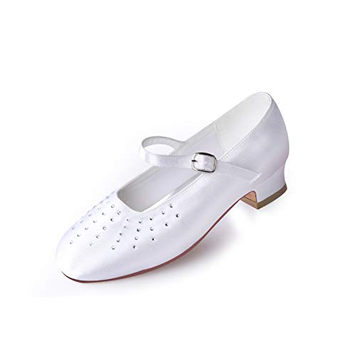 ERIJUNOR E2865 White Communion Shoes Comfortable Flower Girls Dressy Shoes with Soft Lining Size 1 -