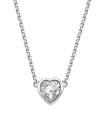 AMDXD Glittering Necklace Heart Shape Pendant Women Chain with White Cubic Zirconia