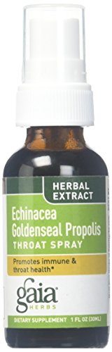 Gaia Herbs Echinacea Goldenseal Propolis Throat Spray, 1-Ounce Bottle (Pack of 2) (Homeopathic Sore Throat Spray)