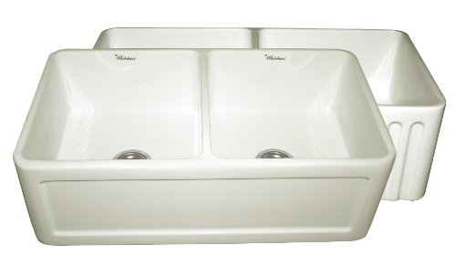 - Whitehaus WHFLCON3318-BI Farmhaus 33-Inch Reversible Series Double Bowl Fireclay Apron Front Sink, Biscuit