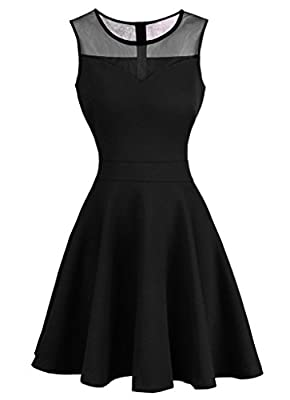 OFTEN® Women's A-Line Sleeveless Pleated Little Cocktail Party Dress