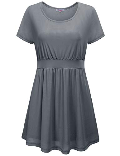 Business Casual Tops for Women Petite,Ladies Short Sleeve Round Neck Tie Belt Mini Dress Flowy Work Blouses Grenadine Knit Solid Color Shirts Juniors Summer Loose Fitted Oversized Clothes Grey XXL