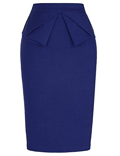 PrettyWorld Vintage Dress Elegant Women's Elastic Waist Stretchy Office Pencil Skirt Navy Blue (L) KL-8 CL454 ()
