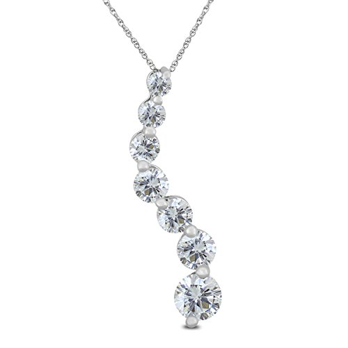 Diamond Prong Journey Pendant - AGS Certified 1 Carat TW Diamond Journey Pendant in 14K White Gold (K-L Color, I2-I3 Clarity)