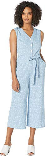 Two by Vince Camuto Sleeveless White Floral Denim Belted Jumpsuit Indigo XL (16)