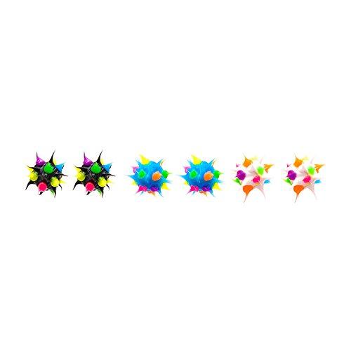 Spikeez Trio Spiky Silicone Studs 8mm (Black/White/Turquoise)