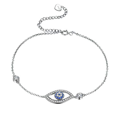 (Besilver Evil Eye Bracelet 925 Sterling Silver Crystal Protection Bracelet Chain Adjustable Women Girl Wishes Lucky Amulet Jewelry Everyday Wearing FB0001W)