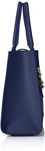 Chicca Borse Damen 8881 Henkeltasche, 34x26x13 cm Blau (Blue)