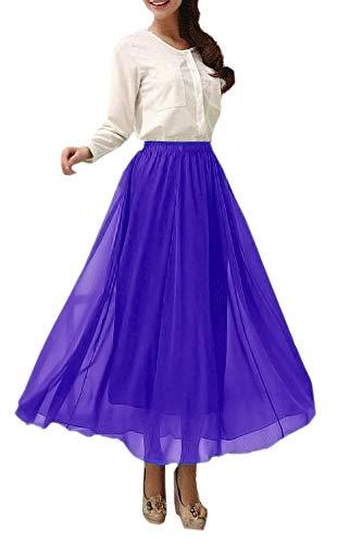 Afibi Womens Chiffon Retro Long Maxi Skirt Vintage Dress (Large, Violet)