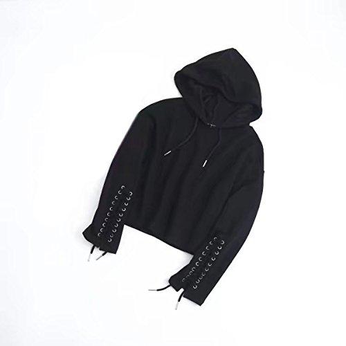 Felpa Pullover Cappuccio Con Temperamento Semplice Fit match Relax Elegante All Black Donna wqOv80n