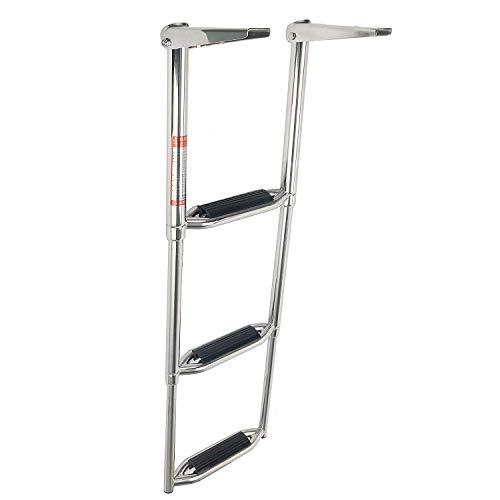 YaeMarine 3 Step Stainless Steel Telescoping Boat Ladder Swim Step ()