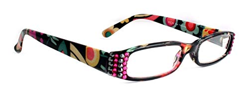 The Lady Bug Florist, Narrow Women Reading Glasses Adorned with Swarovski Crystals +1.25 +1.50 1.75 +2.00 +2.25 +2.50 +2.75 +3.00 +3.50 +4.00 Black, Teal, Pink and White