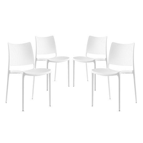 Contemporary Stacking Dining Chairs - Modway Hipster Contemporary Modern Molded Plastic Stacking Four Kitchen and Dining Room Chairs in White - Fully Assembled