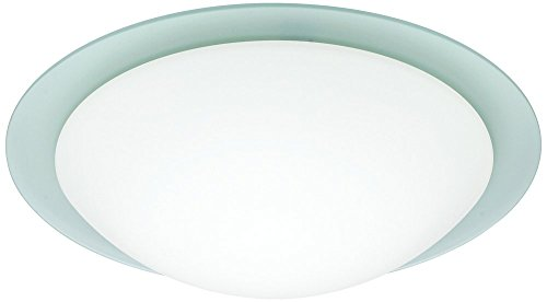 Besa Lighting 977225C 1X60W A19 Ring 13 Ceiling Flush Mount with Frost Glass, White Finish