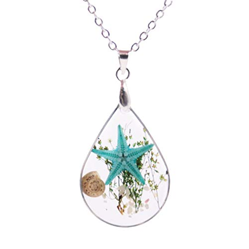 (Shell Starfish Specimen Water Drop Pendant Necklace Fashion Conch Sea Plants Chain Jewelry for Women and Girls (Blue))