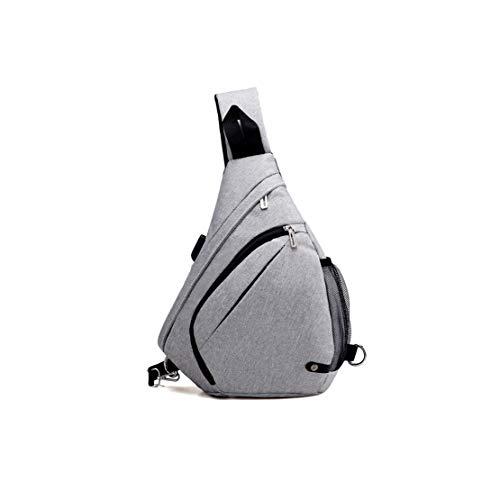 Spalla Impermeabile Borsa Multifunzione Mini Zaino Vintage Bag Moda Grigio1 Poliestere Skitor Uomo Casual Viaggio Usb Il Sling Outdoor Per Petto Con Monospalla A Porta Tracolla 0zqY8p