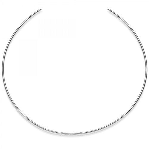 1,5mm Collier ras Omega jonc Omega chaîne collier en or blanc 58545cm dévissables