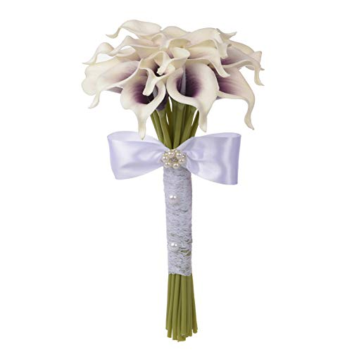 Bouquet Artificial PE Foam Calla Lily Flowers Bridal for Wedding Party Decor Collage Craft Supplies,Purple
