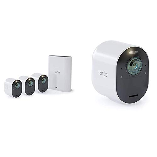 Arlo Ultra 4K UHD & HDR - 4 Wire-Free Indoor/Outdoor Security Cameras with Color Night Vision,...