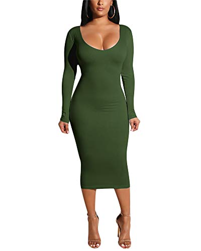 Long Sleeve Elegant Slim Midi Dress