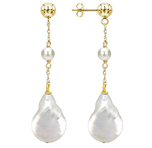 - 14K Yellow Gold Ball Stud White Flat-baroque Freshwater Cultured Pearl Dangle Earrings