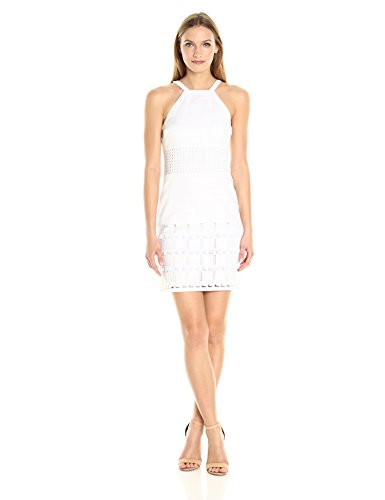 Shelli Segal Stripe - laundry BY SHELLI SEGAL Women's Linen Halter with Faux Leather Blocking, Optic White, 2