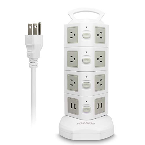 Surge Protector Power Strip,Extension Lead,FGXJKGH[2018UPGRADED],USB Charging Station14 Outlets 4 USB 2500W, 6.5 Feet Multiple Plug Outlet(Gray+WHITE14Outlet4USB)