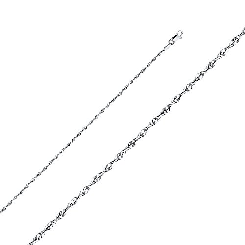 Wellingsale 14k White Gold SOLID 2mm Polished Diamond Cut SOLID Rope Chain Necklace with Lobster Claw Clasp - 18