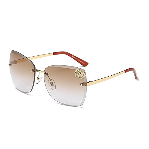 DONNA Trendy Oversized Frameless Sunglasses Cat Eye Gradient Clear Lens Glass D105(Red - Sun Sunglasses Best Into Driving For