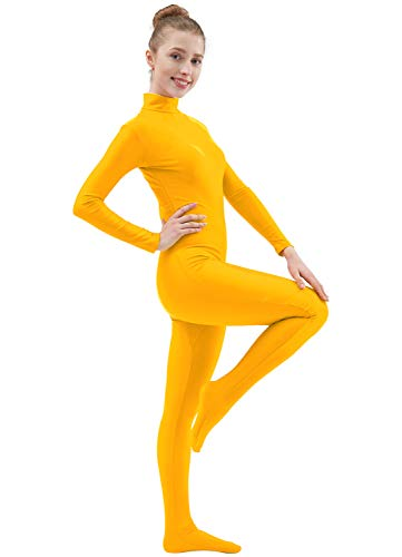 Ensnovo Womens Lycra Spandex Zentai Suits One Piece Footed Unitard Yellow,L -