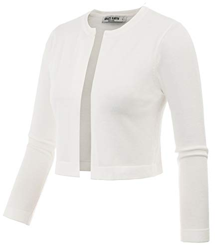 GRACE KARIN Ladies Cropped Bolero Jacket for Evening Dress White Size XL CL942-2