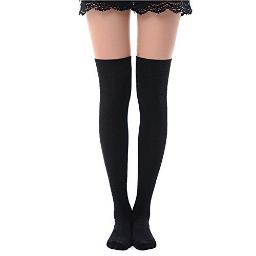 (MK MEIKAN Black Tube Socks, Cospaly Long Casual Breathable Sports Cheerleader Socks 1 Pair, Black)