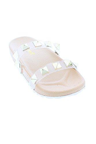 Genx Femmes Mode Pyramide Stud Pantoufle Pantoufle Sandales Chaussures Nomi-11 Nude