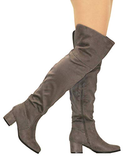 MVE Shoes Womens Over The Knee Stretch Boot - Trendy Low Block Heel Shoe - Comfortable Easy Heel Boot, Grey...