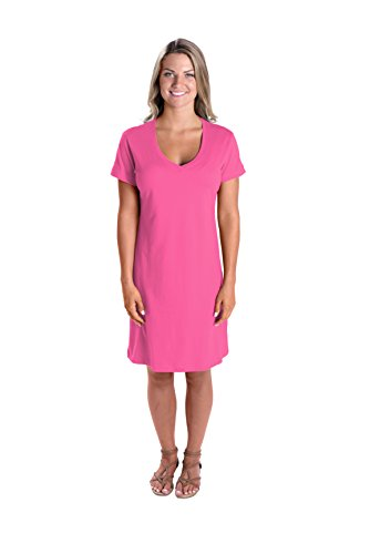 Lat Womens Fine Jersey Crossover V-Neck Coverup Dress,Hot Pink,Large/X-Large