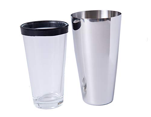 (Bar Dudes Boston Shaker Cocktail Shaker with Rubber Gasket On Mixing Glass - Stainless Steel Drink Shaker and Mixing Glass - Rubber Gasket On Glass Ensures Great Seal for Shaking Every Time)