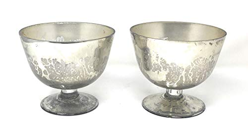 (Serene Spaces Living Set of 2 Mercury Glass Finish Silver Pedestal Bowl, Vintage Compote Bowl, Measures 5