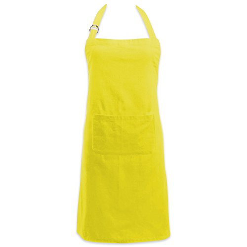 DII Cotton Adjustable Kitchen Chef Apron with Pocket and Extra Long Ties, 32 x 28, Commercial Men & Women Bib Apron for Cooking, Baking, Crafting, Work Shop, BBQ-Lemon Lime Yellow