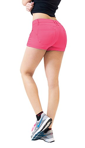 HyBrid & Company Womens Butt Lifting Twill Denim Shorts-SH43308X-PINK-22