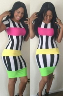 Image Unavailable. Image not available for. Colour  New Ladies Summer  Striped Bodycon Fashion Midi Dress ... 7b45a735c